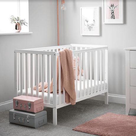 NOWE Łóżeczko dziecięce / łóżko / kojec drewniane białe oBaby