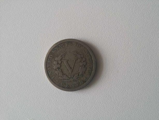 Numismática moeda América nickel cinco cêntimos five cents 1898