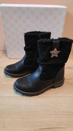 Buty zimowe kozaczki kozaki ocieplane dla dziewczynki rozmiar 26