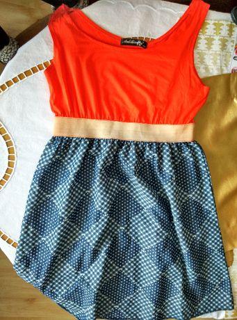 Kolorowa wiosenna/letnia sukienka z przyjemnego materiału