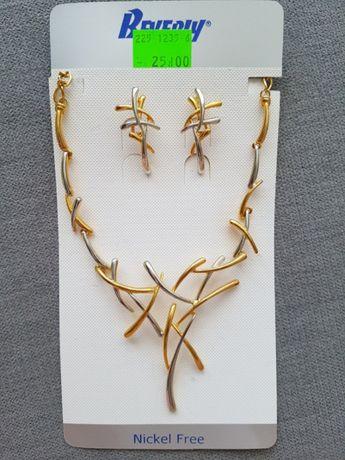 komplet biżuterii złoto srebrny, naszyjnik i kolczyki