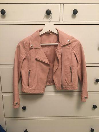 Różowa kurtka skórzana ramoneska ekoskóra 134