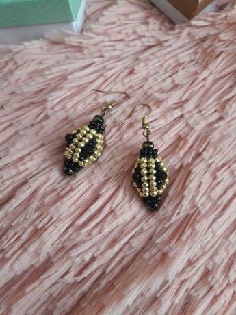 Kolczyki czarno-złote z koralików