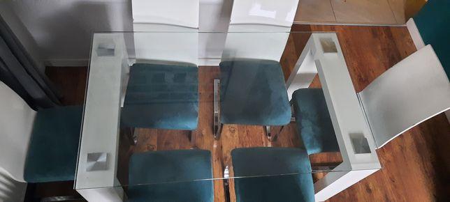 Szklany stół i 6 krzesłami stolik jadalnia krzesło 140 x 84 wysoki 76