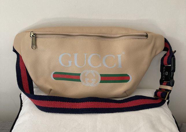 Gucci duża skórzana nerka jak nowa