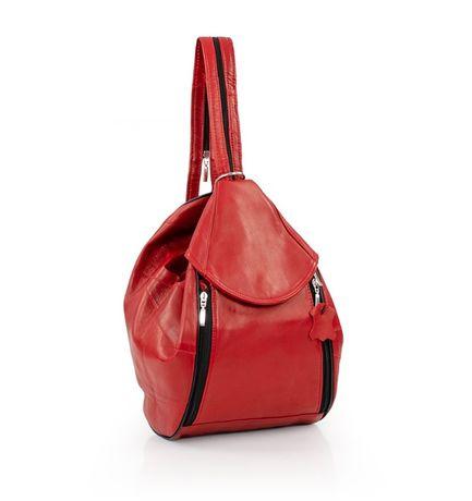 Plecak skórzany czerwony