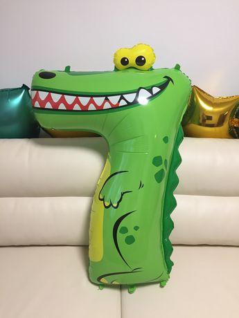 Фольгированная цифра 7 воздушный шарик крокодил