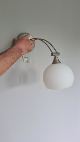 Lampa kinkiet szklany klosz