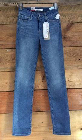 Spodnie jeansy damskie Levis 714 Straight W25 L32 nowe niebieskie