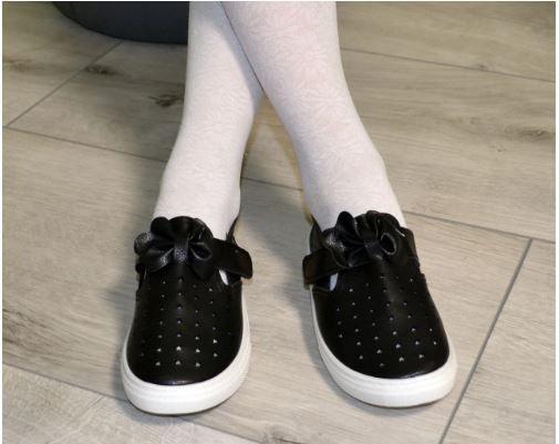 Туфли для девочки на липучке черные мягкие эко кожа