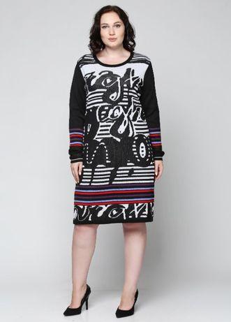 Дания черное с рисунком трикотажное платье by jagro р. 50-52