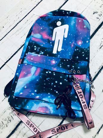 Школьный рюкзак с USB для подростков с Билли Айлиш.Billie Eilish.USA.