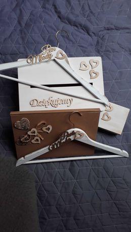 ŚLUB Skrzynka, pudełko na obrączki, wieszaki, księga gości-ślub rustyk