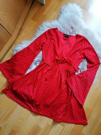 Rozkloszowana Czerwona Sukienka Kropki Pretty Little Thing UK 10 (S/M)