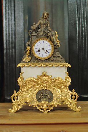 Francja XIX brąz złocony ogniowo nr 5 MOLIERE zegar stojący kominkowy