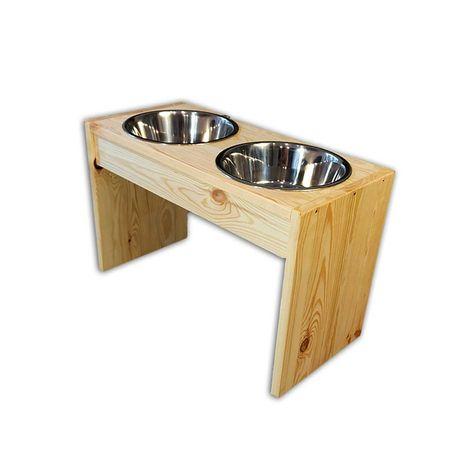 DiO Stojak na miski 2.8L dla psa z drewna bezbarwny duże rasy