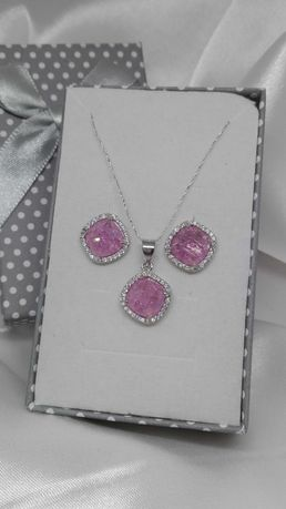 Srebrny komplet z różowym kamieniem, srebro próba 925