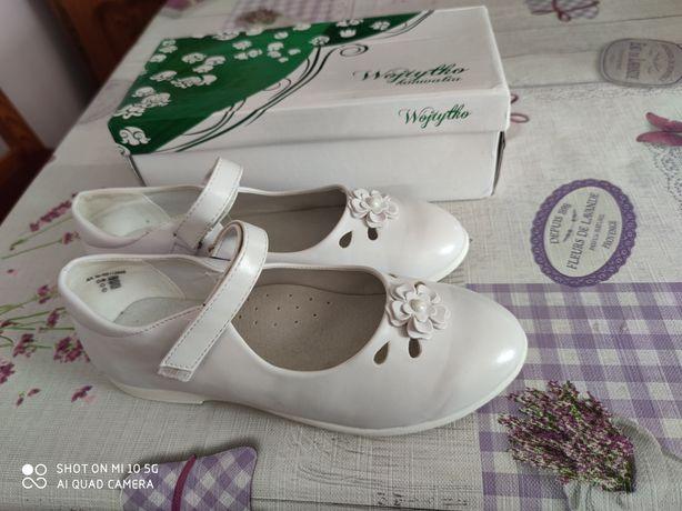 Buty komunijne dziewczęce białe rozm. 37
