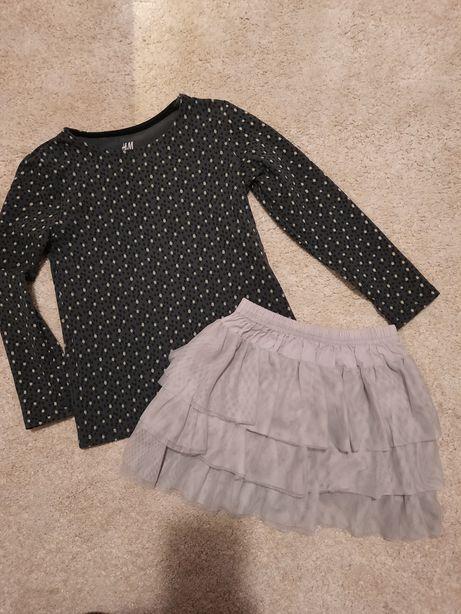Zestaw 110/116 h&m spódniczka + 3 bluzeczki