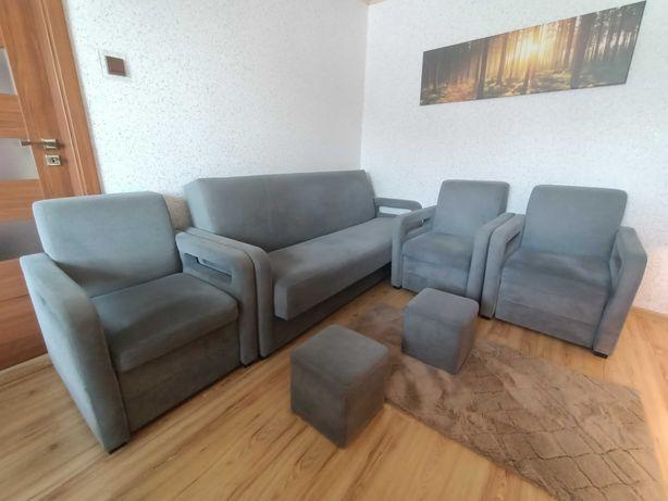 Zestaw wypoczynkowy (sofa, fotele, pufy) Bodzio Karmona