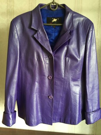 Кожаный женский пиджак куртка р.48