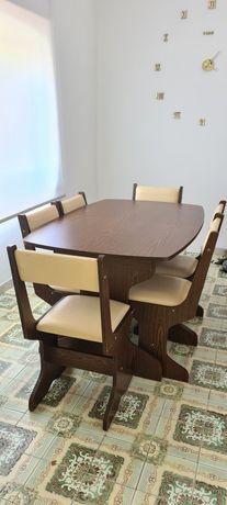 Mesa sala de jantar extensível com 6 cadeiras