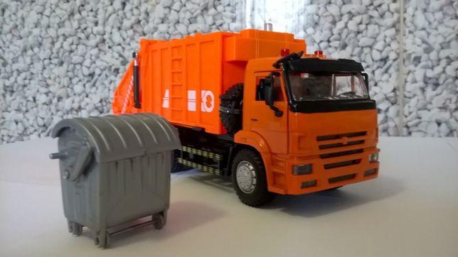 Камаз 6520 мусоровоз с контейнером машинка металл звук свет