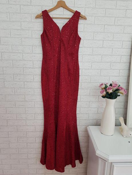 Bordowa sukienka maxi 36 S długa cekiny Asos Nowa