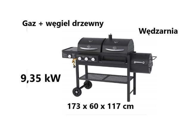 Grill gazowy Dean Combo z wędzarnią, gaz + węgiel drzewny, 9,35 kW
