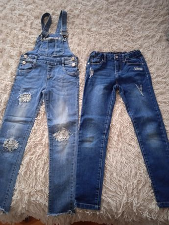Spodnie dziewczęce Reserved 128 i ogrodniczki rozm.128