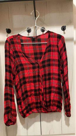 Damska koszula w kratkę elegancka fajny dekolt- jak nowa Top Secret 36