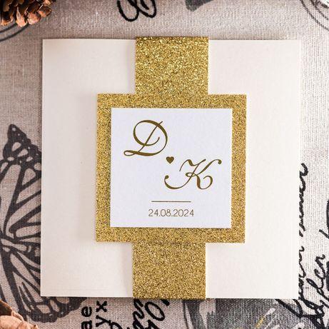 Zaproszenia ślubne złote i srebrne glamour