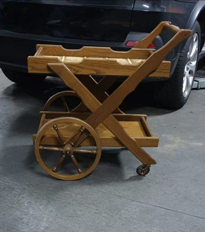 Stolik dębowy drewniany wózek barek na kółkach