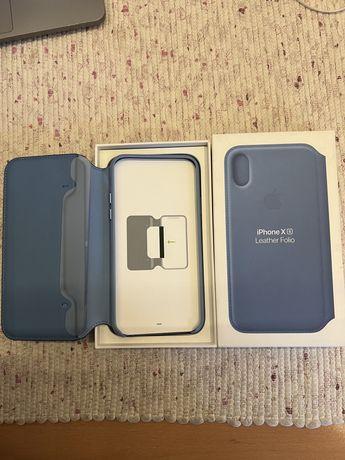 Capa Pele Azul iPhone Xs