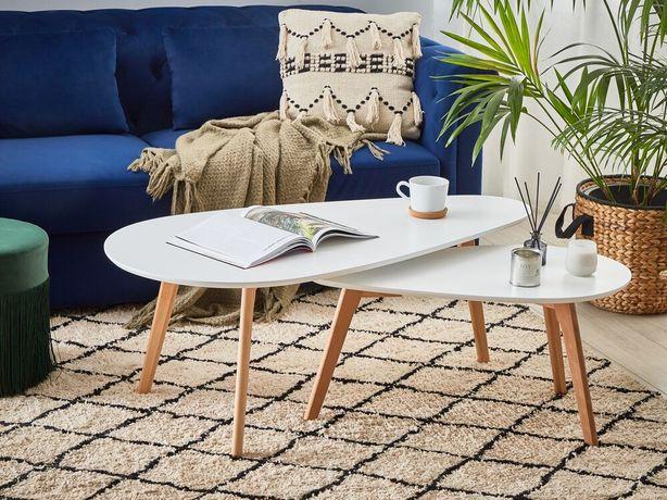 Conjunto de 2 mesas de centro brancas com pés de madeira FLY III - Beliani