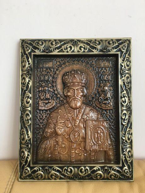 Картина з дерева, панно ікона Ісус Христос, Божа Матір