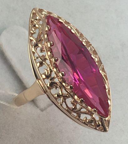 Кольцо золотое рубин 583 проба, советское а414