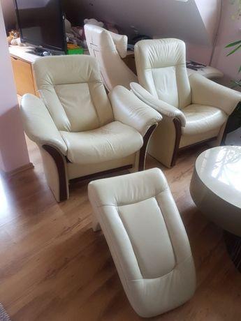 komplet mebli kanapa fotele skóra naturalna ecru MebloMak