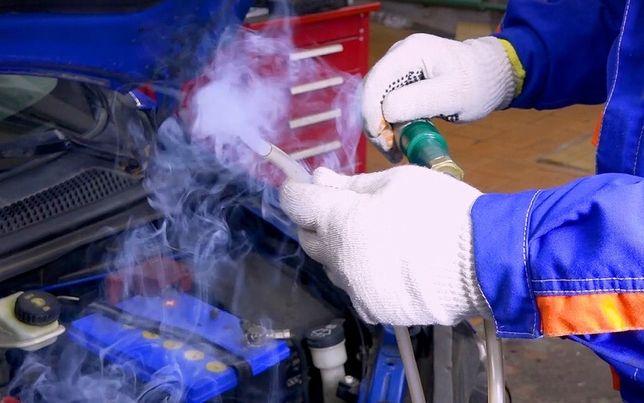 Пошук підсосів повітря. Перевірка герметичності  димогенератором.