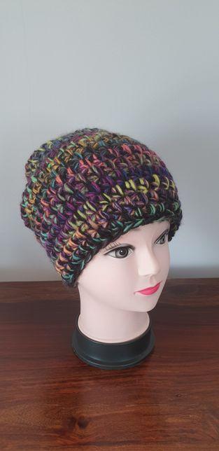 Gruba czapka handmade beanie wełna + akryl, kolory