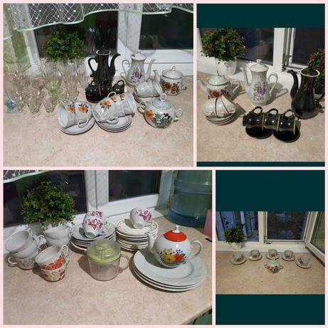 Набор посуды бокалы чашки тарелки