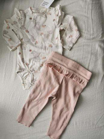 Nowy komplet dla dziewczynki 62 h&m body spodnie