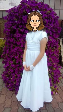 Alba-sukienka komunijna-gratis bolerko i rękawiczki