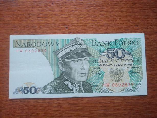 Banknot 50 złotych PRL (1988) Karol Świerczewski