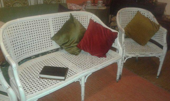 Vintage cadeirão + 2 cadeiras palhinha branca