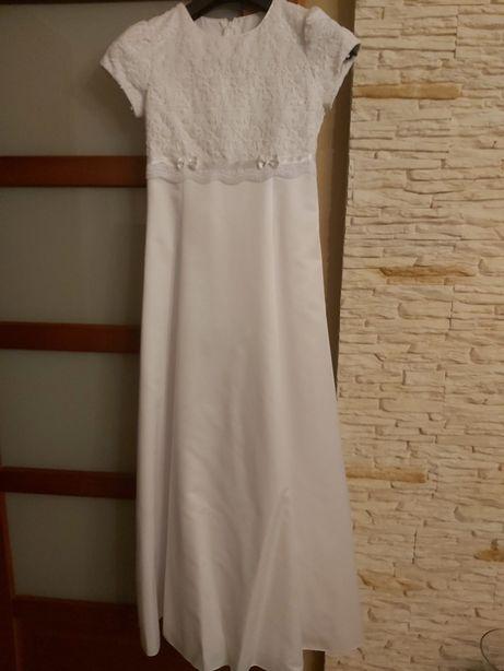 Sukienka komunijna satyna, bolerko, torebka, rękawiczki, wianek r.154