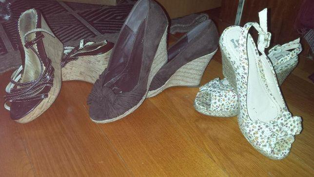 Sandálias de cunha alta 36