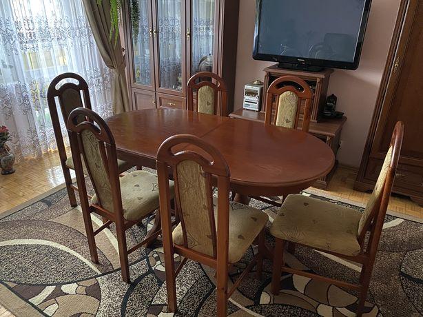 Komplet drewniany stół + 6 krzeseł