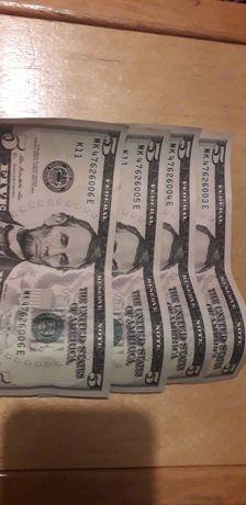 Купюри 5 доларів з номерами попорядку