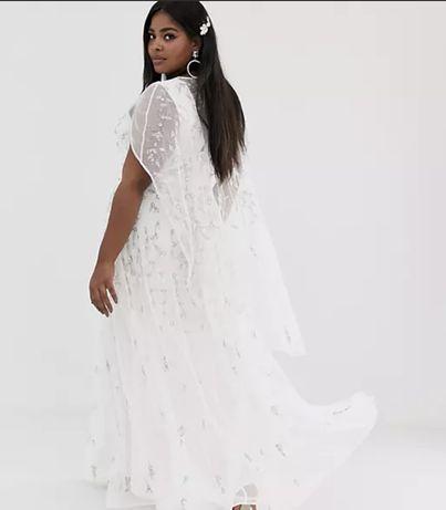 Sukienka asos boho ślubna 42 XL ciekawy tył zdobiona koraliki zwiewna